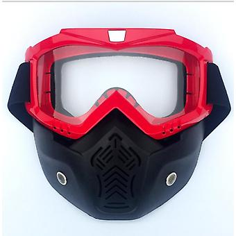 Motorcycle Helmet Riding Goggles Glasses With Removable Face Mask