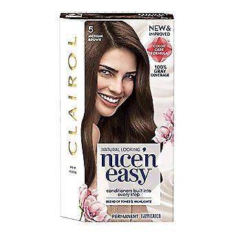 Clairol nice 'n easy permanent hair color, #5 medium brown, 1 kit *