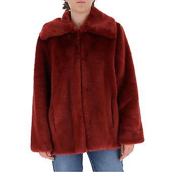 L'autre Koos B1580470071u490 Dames's Burgundy Viscose Outerwear Jacket