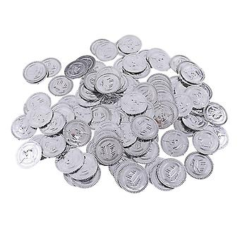 100x Plastic Treasure Pirate, Chest Pinata Play Money Coin For Birthday Party