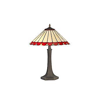 2 Lampada da tavolo ottagonale leggera E27 con 40cm Tiffany Shade, Rosso, Cristallo, Ottone Antico Invecchiato