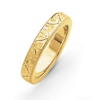 14kイエローゴールドエッチング洗練されたファンシーな結婚指輪リングジュエリーギフト女性のための - リングサイズ:5〜12