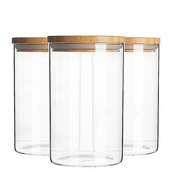 צנצנת זכוכית 3 חלקים עם סט מיכל אחסון מכסה עץ - מיכל אטום בסגנון עגול - 1 ליטר