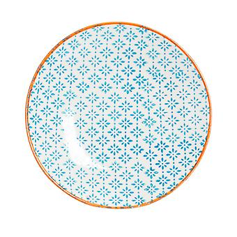 Nicola Spring Hand-Printed Side Plate - Japanese Style Porcelain Dessert Bread Plates - Blue - 18cm