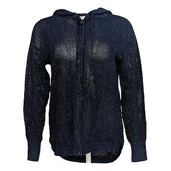 Belle by Kim Gravel kvinder ' s sweater zip-up Lurex hoodie blå A288756