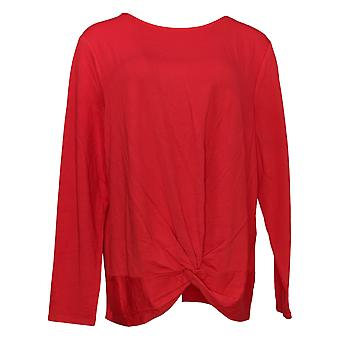 G.I.L.I. tem-se love it Women's Top Twist Front Knit Tee Red A374969