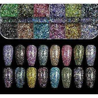 10gm Mixed Size Nail Glitter Flakes, 3d Paiens Paillette Pulbere - Farmec Nail