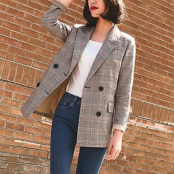 Vintage Double Breasted Plaid Women Blazer Poches Vestes, Costumes rétro féminins