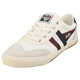 Gola Badminton Mens Casual Trainers in Off White Burgundy