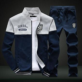 New Sporting Suit Brand Patchwork Zipper Sweatshirt +sweatpants Clothings