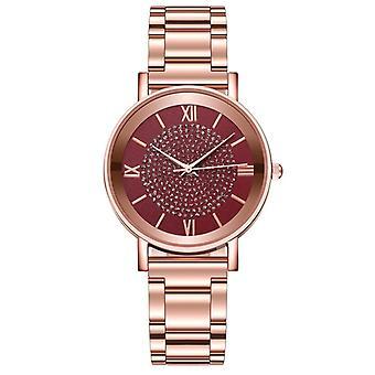 Montre quartz de luxe pour femmes, montres bracelet cadran en acier inoxydable