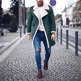 Winter Men's Fur Fleece Fashion Trench Coat Overcoat, Style Brown Jacket