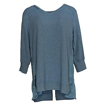 H By Halston Women's Top V-Neck Mixed Media Tunic Blue A350388