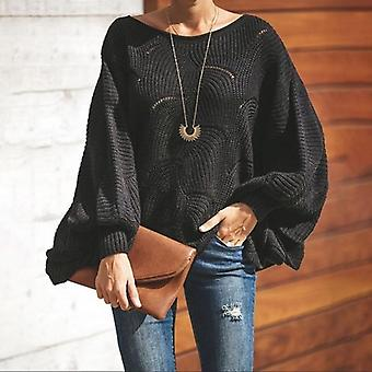 Fashion Hollow Out Sweaters Casual Femme Knitwear Sleeve O Neck Loose Ruffle