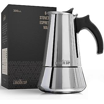 Stainless Steel Induction Stovetop Espresso Maker (Silver, 6 Cup)