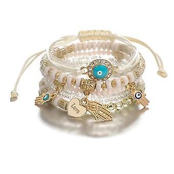 Ethnic Adjustable Pendant Layered String Bracelets Set