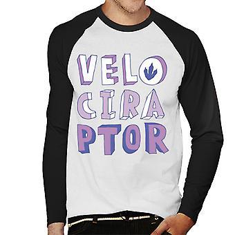 Jurassic Park Velociraptor lila Text Männer's Baseball langärmelige T-Shirt