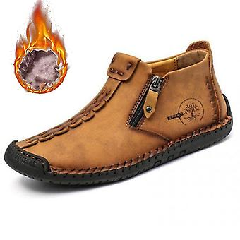 Winter Men Ankle Boots, Comfortable, Thick, Plush Warm Snow Split Leather