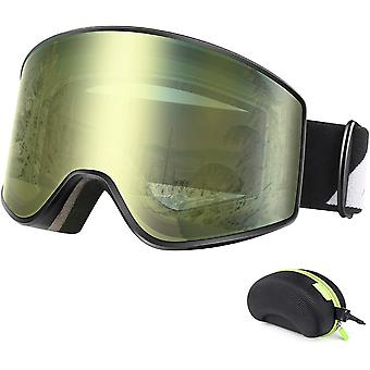 BFULL Ski Goggles, Anti-fog and UV400 Protection OTG Snow Goggles with Lock Button