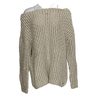 Peace Love World Women's Sweater Texture With Boat Neck Beige A372085