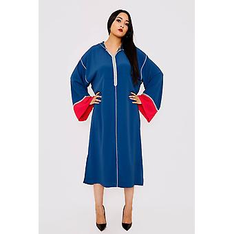 Djellaba farhat long sleeve contrast colour hooded midi dress kaftan in blue