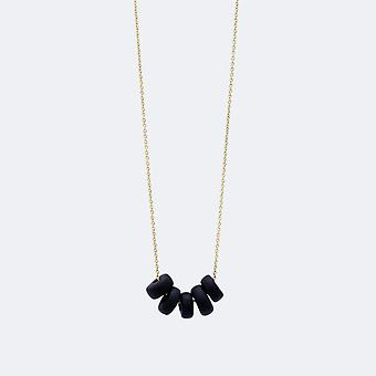 Black Disk Beads Gold Necklace