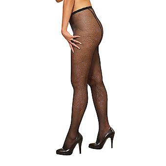 Dreamgirl Plus Size Black Fishnet Pantyhose with Back Seam