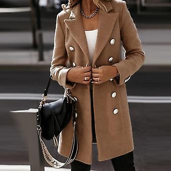 Autumn-winter Women Elegant Woolen Office Simple Casual Coat