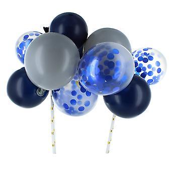 Blauw & Zilveren Ballonwolk Cake Topper