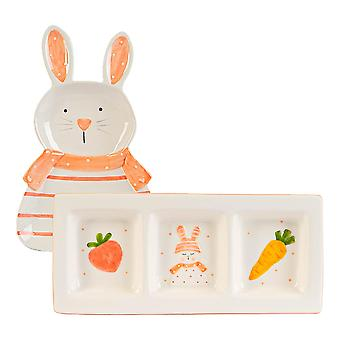 2 Piece Easter Bunny Plates Set Hand Painted Buffet Party Tableware White