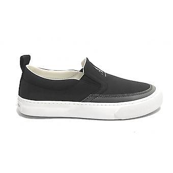 Men's Slip On Armani Exchange Sneaker In Black Fabric Us21ax06 Xuy003
