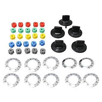 4.5Pieces 9x3cm Black Electrical Knob Kit With Universal Insert Adapters