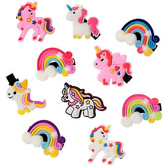 10x Hair clips - Unicorns and Rainbows