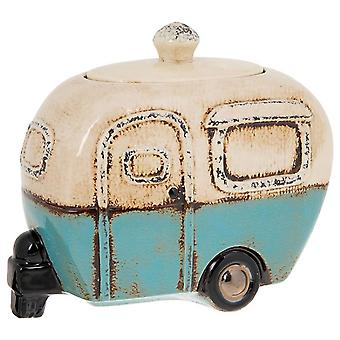 Village Pottery Caravan Cookie Jar Blue