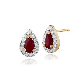 Classic Pear Ruby & Diamond Cluster Stud Earrings in 9ct Yellow Gold 24232
