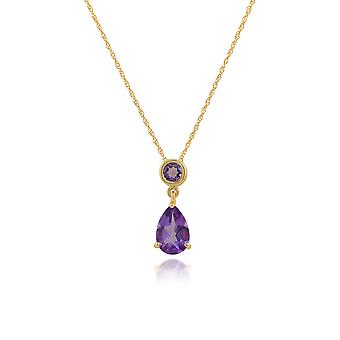 Classic Pear Amethyst Pendant Necklace in 9ct Yellow Gold 186P0188049