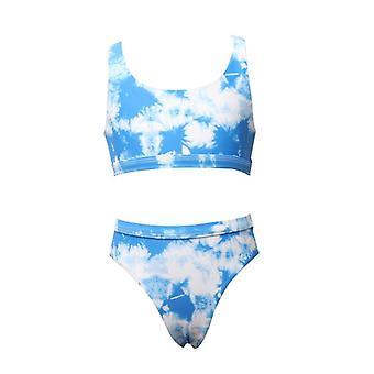 Swimsuit european new split children's  cute blue sky printed girls' swimwear