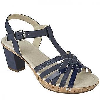 Cipriata Calvina Ladies Strappy Heeled Sandals Blue Metallic