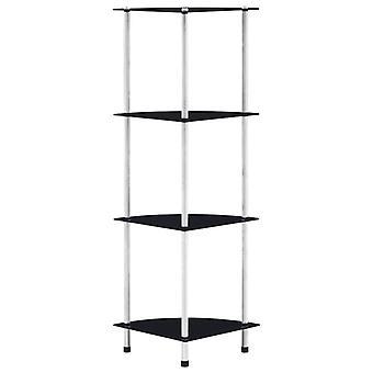 vidaXL shelf with 4 shelves Black 30x30x100 cm tempered glass