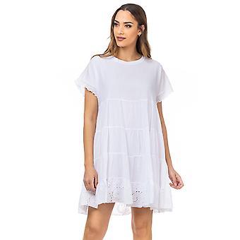 Wijde jurk met batista zoom en mouwen