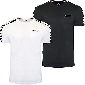 Lambretta Mens Two Toned Taped Crew Neck Checkered T-Shirt Tee Top