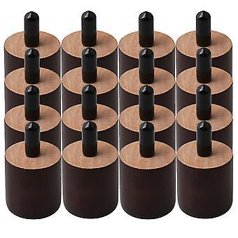 16pcs Cilindro Móveis Pernas de Madeira Pés para Sofá Cadeira Marrom 3.7x3.5cm
