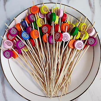 Flower Bamboo Pick Buffet Cupcake Fruit Fork Party Stick
