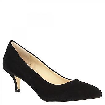 莱昂纳多鞋女手工尖脚趾中高跟鞋泵鞋在黑色绒面革皮革