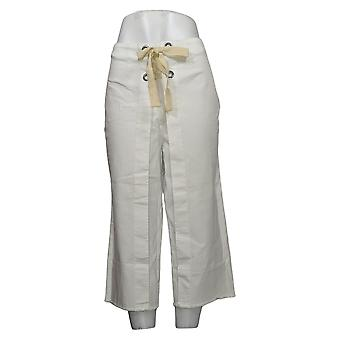 Brittany Humble Women's Jeans Lace-Up Wide-Leg Cropped White 742804