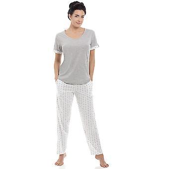 Las señoras de Camille gris algodón mezcla manga corta largo pijama conjunto