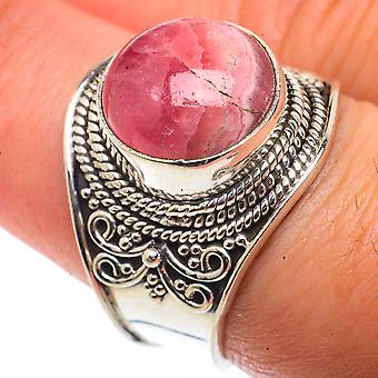 Rhodochrosite Ring Size 8 (925 Sterling Silver)  - Handmade Boho Vintage Jewelry RING66528
