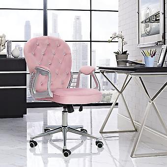 Chaise de bureau en velours rose avec roues