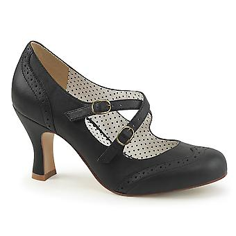 Pin mujeres's zapatos hasta cuero sintético Blk
