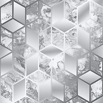 Muriva Elixir Cube Silver Wallpaper 166510